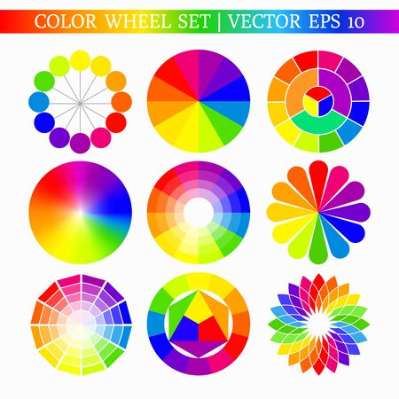 Set of abstract flower-shaped color wheel isolated on white background. Vector illustration for your graphic design.