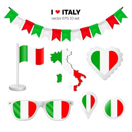 Italy symbols attribute. Heart, flags, glasses, buttons, and garlands with civil and state Italian colors. Vector illustration for your graphic design.
