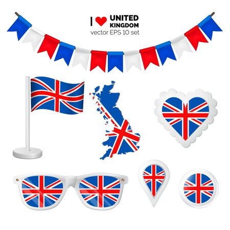 United Kingdom symbols attribute. Heart, flags, glasses, buttons, and garlands with civil and state United Kingdom colors. Vector illustration for your graphic design.