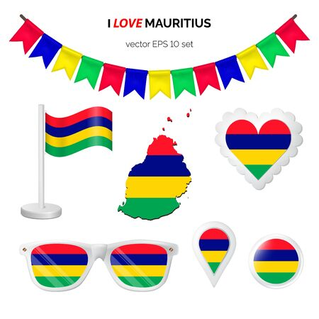 Mauritius symbols attribute. Heart, flags, glasses, buttons, and garlands with civil and state Mauritius colors. Vector illustration for your graphic design. Ilustração