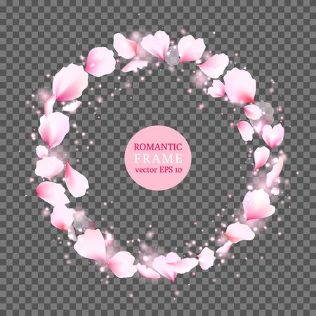 Half transparent romantic vector frame made with pink rose petals. Cute and tender round romantic border frame. Vector illustration for your graphic design.