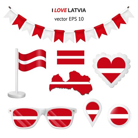 Latvia symbols attribute. Heart, flags, glasses, buttons, and garlands with civil and state Latvia colors. Vector illustration for your graphic design.