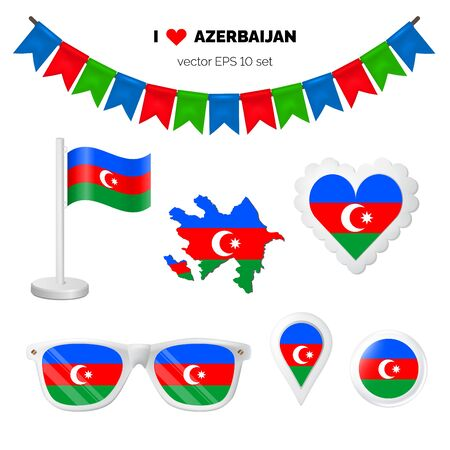 Azerbaijan symbols attribute. Heart, flags, glasses, buttons, and garlands with civil and state Azerbaijan colors. Vector illustration for your graphic design.