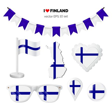 Finland symbols attribute. Heart, flags, glasses, buttons, and garlands with civil and state Finland colors. Vector illustration for your graphic design.