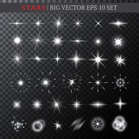 Big set of half-transparent various shining white stars. Stars, bursts, and lights of various shapes. Vector illustration for your graphic design.