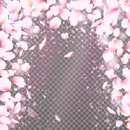 Rose petals frame with falling tender pink petals. Cute falling flowers petals arc. Vector illustration for your graphic design.