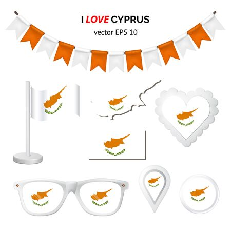 Cyprus symbols attribute. Heart, flags, glasses, buttons, and garlands with civil and state Cyprus colors. Vector illustration for your graphic design.