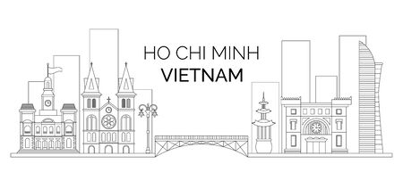 The landscape of the Vietnam Ho Chi Minh. Vector outline of buildings and bridge of Ho Chi Minh. Vector illustration for your graphic design. Vector Illustratie
