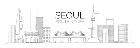 The landscape of South Korea Seoul. Vector outline of buildings and bridge of Seoul. Vector illustration for your graphic design.