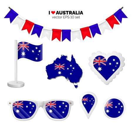 Australia symbols attribute. Heart, flags, glasses, buttons, and garlands with civil and state Australian colors. Vector illustration for your graphic design.