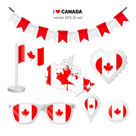 Canada symbols attribute. Heart, flags, glasses, buttons, and garlands with civil and state Canada colors. Vector illustration for your graphic design.