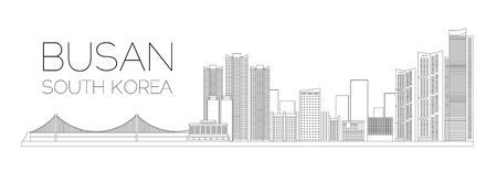 The landscape of South Korea Busan. Vector outline of buildings and bridge of Busan. Vector illustration for your graphic design.