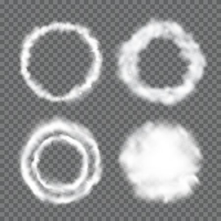 Fluffy circular cloud frames. Circle white clouds isolated on half-transparent background. Vector illustration for your graphic design.
