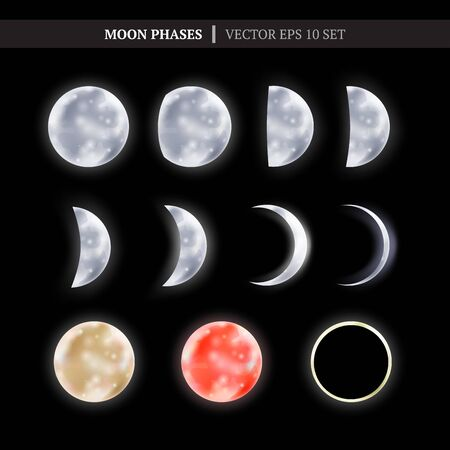 Crescent and the moon phases in the night sky. Set of shiny moon phases. Vector illustration for your graphic design.