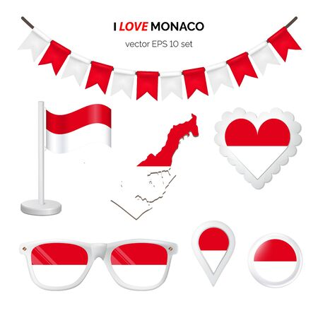 Monaco symbols attribute. Heart, flags, glasses, buttons, and garlands with civil and state Monaco colors. Vector illustration for your graphic design.