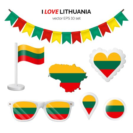 Lithuania symbols attribute. Heart, flags, glasses, buttons, and garlands with civil and state Lithuania colors. Vector illustration for your graphic design.