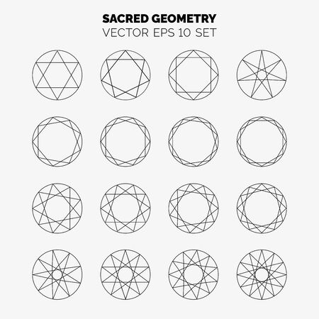 Sacred geometry set with various starry shapes in circles. Vector illustration for your graphic design.