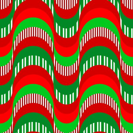 Seamless creative colorful 70s pattern design. Wavy repetitive red and green pattern with retro waves. Vector illustration for your graphic design. Ilustração