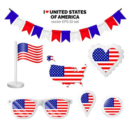 USA symbols attribute. Heart, flags, glasses, buttons, and garlands with civil and state United States of America colors. Vector illustration for your graphic design. Ilustração