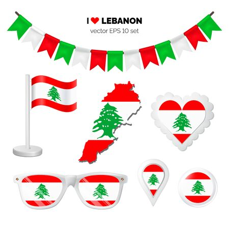 Lebanon symbols attribute. Heart, flags, glasses, buttons, and garlands with civil and state Lebanon colors. Vector illustration for your graphic design.