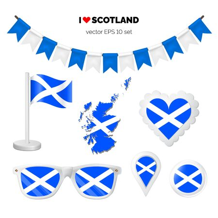 Scotland symbols attribute. Heart, flags, glasses, buttons, and garlands with civil and state Scotland colors. Vector illustration for your graphic design. Ilustração
