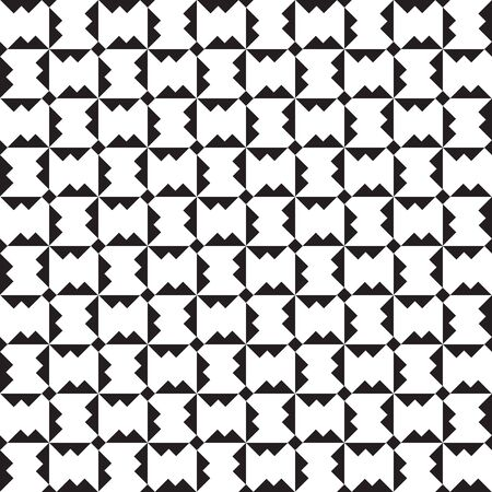 Seamless geometric monochrome pattern with polygons. Repetitive black and white broken check background. Vector illustration for your graphic design. Ilustração