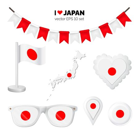 Japan symbols attribute. Heart, flags, glasses, buttons, and garlands with civil and state Japan colors. Vector illustration for your graphic design.
