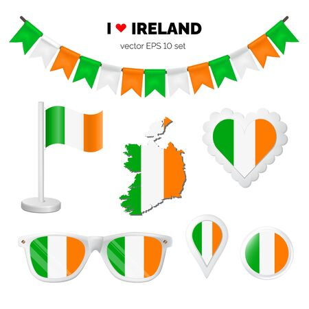 Ireland symbols attribute. Heart, flags, glasses, buttons, and garlands with civil and state Ireland colors. Vector illustration for your graphic design. Ilustração