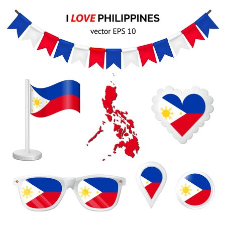 Philippines symbols attribute. Heart, flags, glasses, buttons, and garlands with civil and state Philippines colors. Vector illustration for your graphic design.