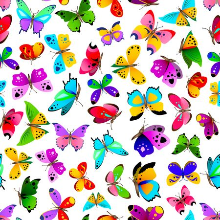 Seamless pattern with beautiful bright and colorful butterflies. Cute butterflies repetitive background.  Vector illustration for your graphic design.