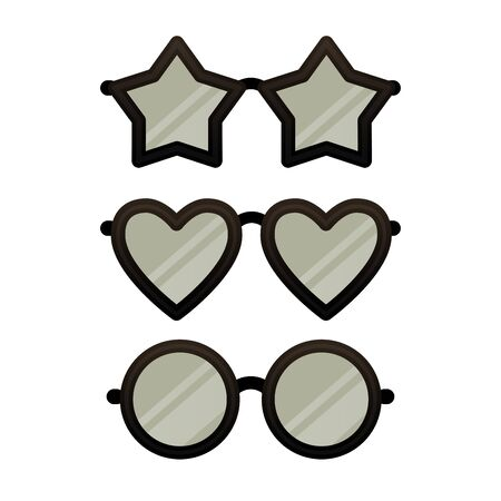 Set of funny star, heart and circle shaped eye glasses isolated on white background. Various black eyeglasses. Vector illustration for your graphic design.