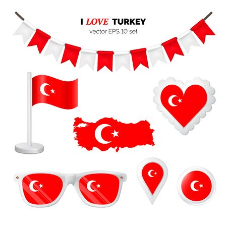 Turkey symbols attribute. Heart, flags, glasses, buttons, and garlands with civil and state Turkey colors. Vector illustration for your graphic design.