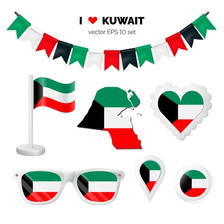 Kuwait symbols attribute. Heart, flags, glasses, buttons, and garlands with civil and state Kuwait colors. Vector illustration for your graphic design.