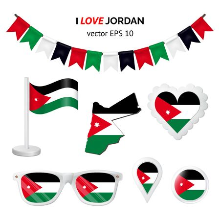 Jordan symbols attribute. Heart, flags, glasses, buttons, and garlands with civil and state Jordan colors. Vector illustration for your graphic design.
