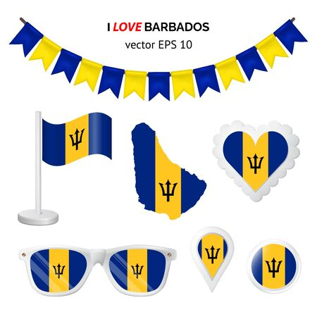 Barbados symbols attribute. Heart, flags, glasses, buttons, and garlands with civil and state Barbados colors. Vector illustration for your graphic design. Ilustração