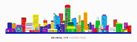 Horizontal city scape with colorful various buildings with little windows. Cityscape outline isolated on white background. Vector illustration for your graphic design. Ilustração