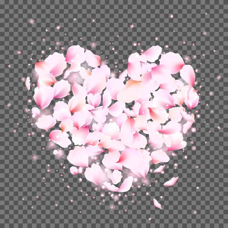 Rose petals heart with flying tender pink petals. Cute falling flowers petals in the shape of the heart. Vector illustration for your graphic design.
