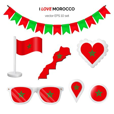Morocco symbols attribute. Heart, flags, glasses, buttons, and garlands with civil and state Morocco colors. Vector illustration for your graphic design.