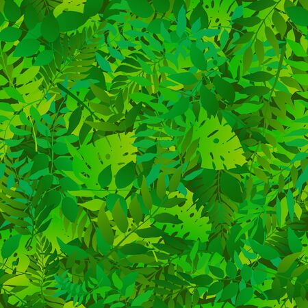 Green natural seamless pattern with natural leaves. Bright fresh green botanic repetitive pattern. Vector illustration for your graphic design.