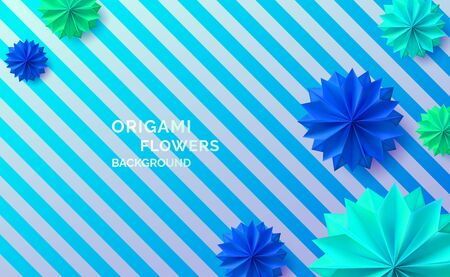 Colorful origami paper modern backdrop. Realistic origami flowers on striped background. Vector illustration for your graphic design.