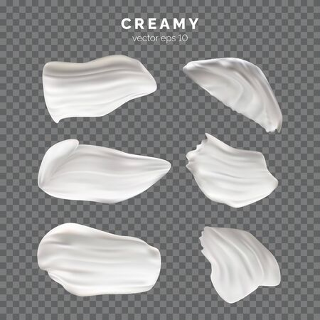 Set of white creamy textured paint swirls and smears. Cream strokes Vector illustration for your graphic design. Ilustração