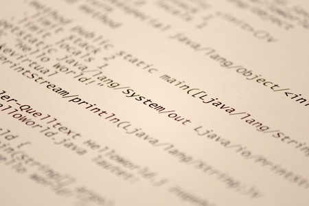 the assembler: A sheet of Assembler Code printed out Stock Photo