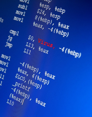 Code in Assembler programming script with a red Word VIRUS  photo