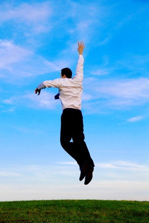 A jumping happy man on a green meadow Stock Photo - 11870978