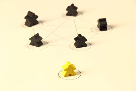 Mobbing within a team, little playing figures photo