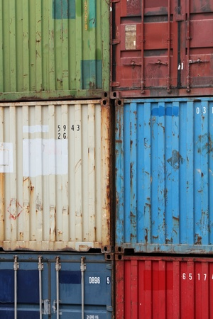 Colerful container on global a reloding site Stock Photo - 11542684