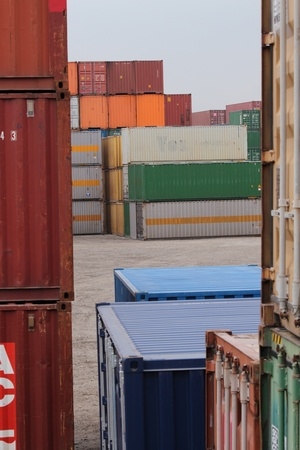 Container reloading site  with colerful bulk freight