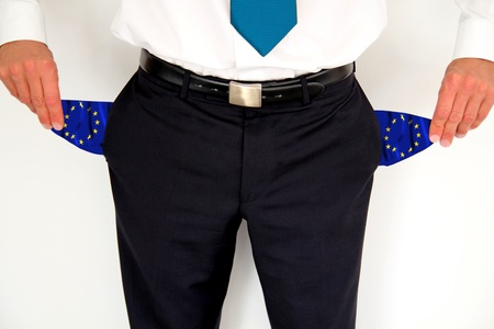 impoverished: Banker with empty pockets