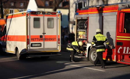 Firefighters and Ambulance