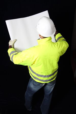 Building Worker with plan roll Stock Photo - 12054698